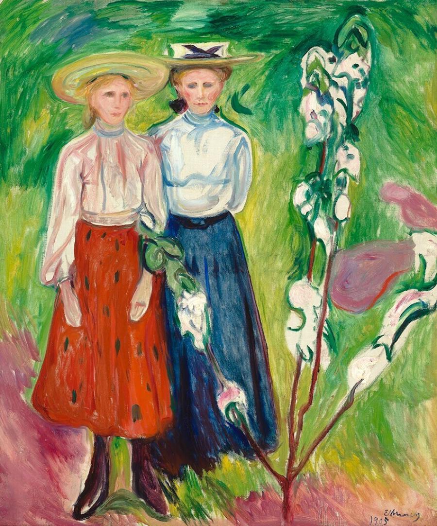 Two Girls under an Apple Tree in Bloom