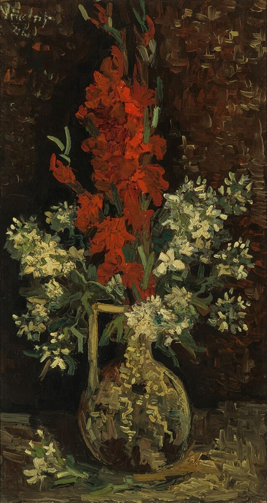 Vase with Red and White Flowers