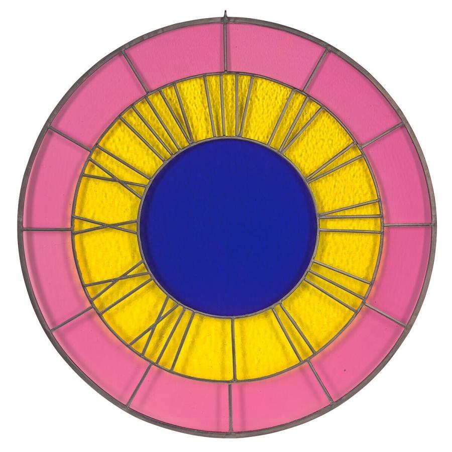 pink yellow blue clock (roze gele blauwe klok)