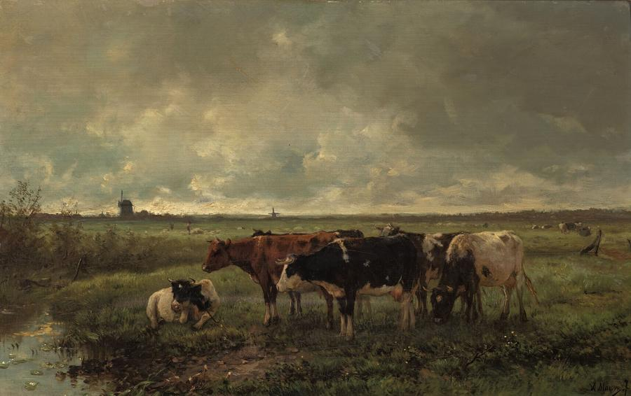 Landscape with Cows and Mill on the Horizon