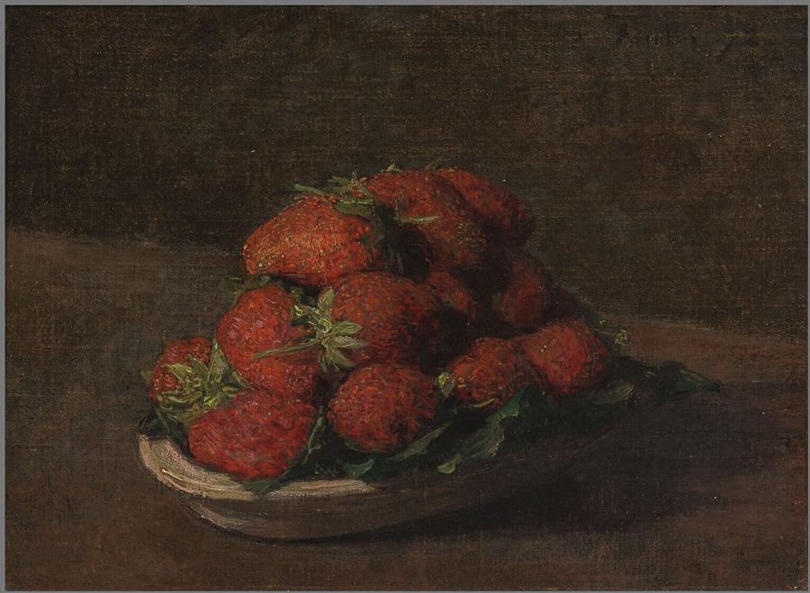 Aardbeien in een aardewerk schoteltje