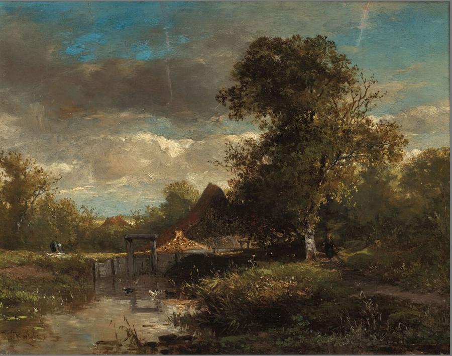 Landschap met bomen en water