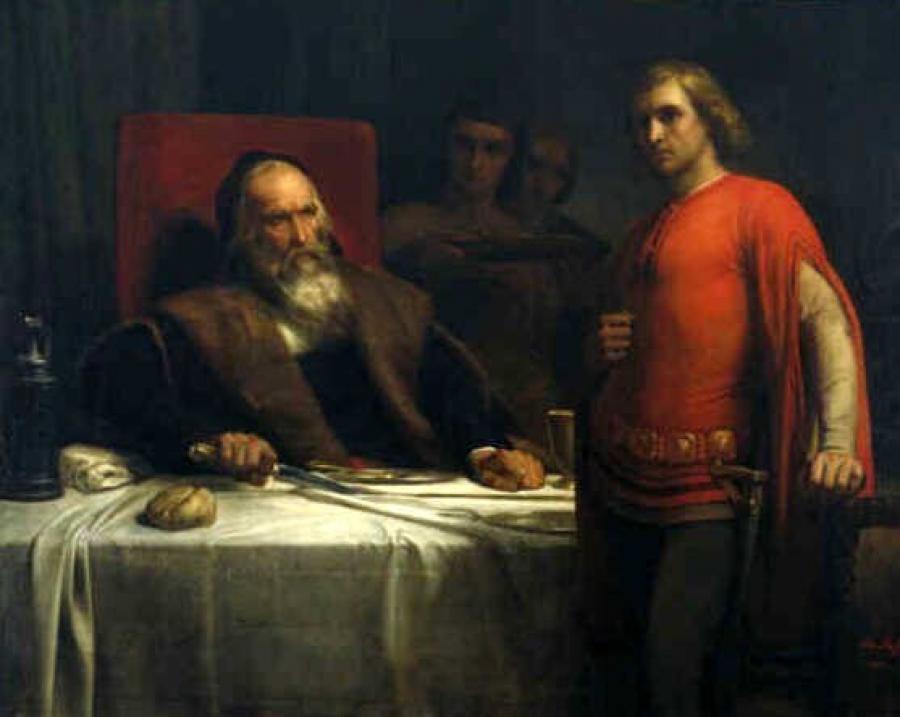 Graaf Eberhard van Württemberg en zijn zoon