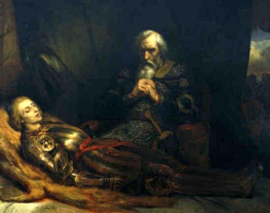 Graaf Eberhard van Württemberg treurt bij het lichaam van zijn zoon