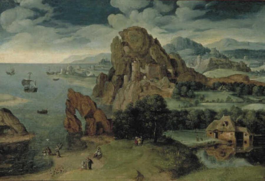 Landschap met de doop van Christus en de Emmausgangers