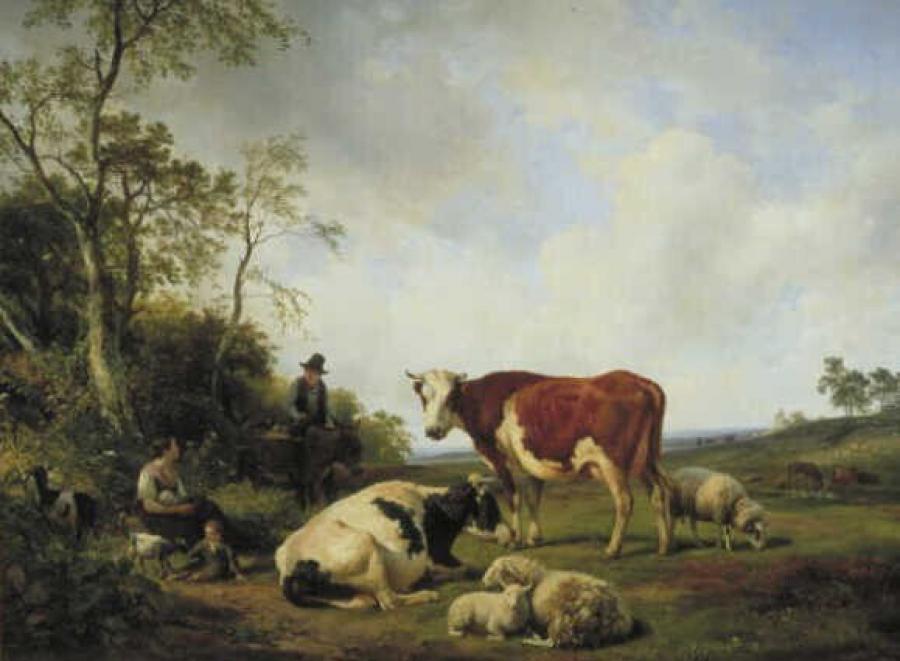 Landschap met koeien en ander vee