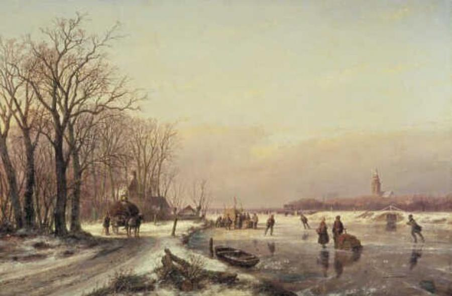 Winter Landscape with Farm Wagon and Skaters