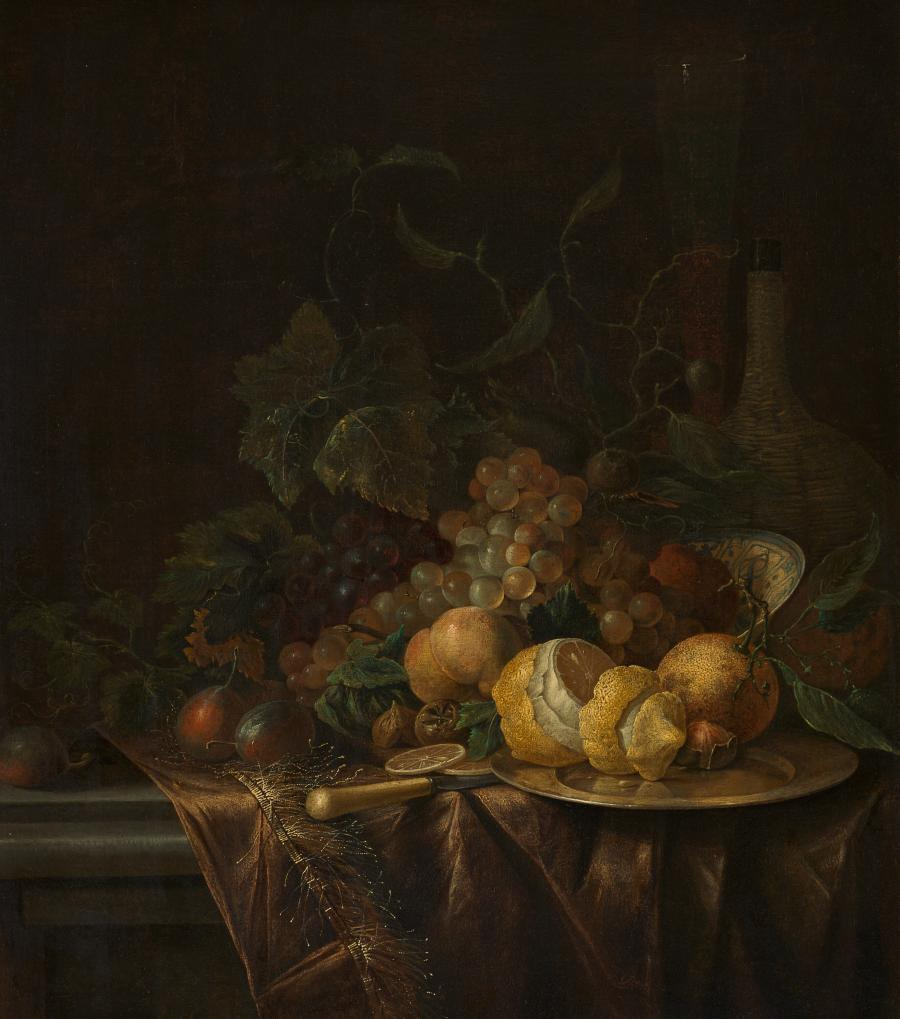 Stilleven met vruchten, fluitglas en mandfles
