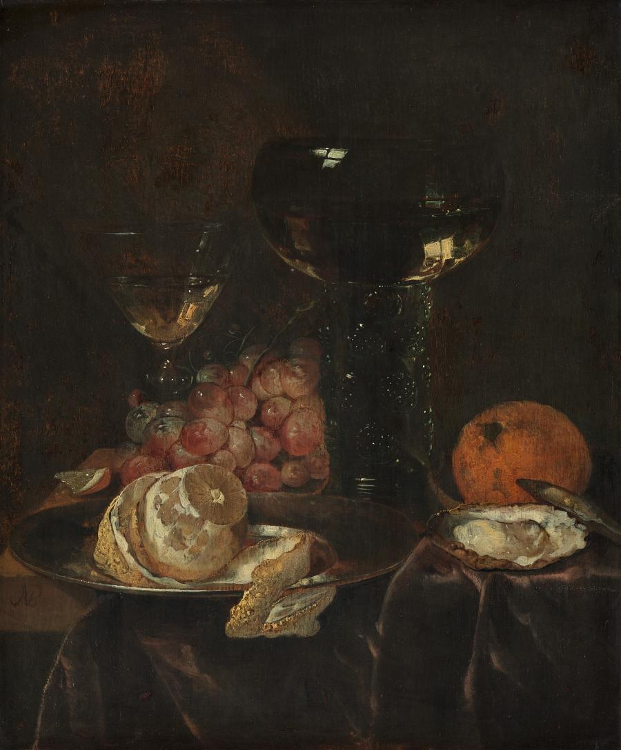 Stilleven met citroen, druiven en glazen
