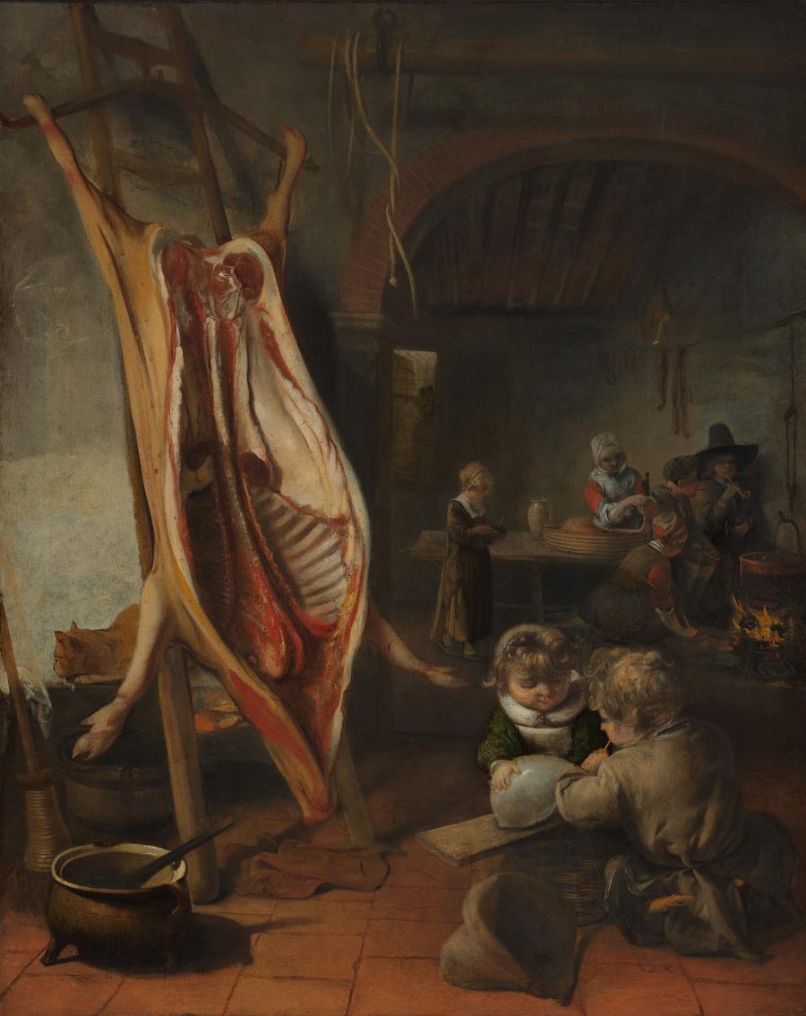 Interieur met een opengespalkt varken op de leer
