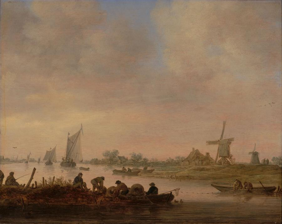 A River Scene with Fishermen