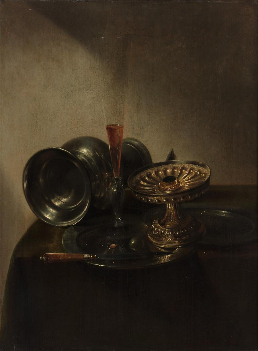Still Life with a Jug lying on its side, a Flute-glass and a Tazza