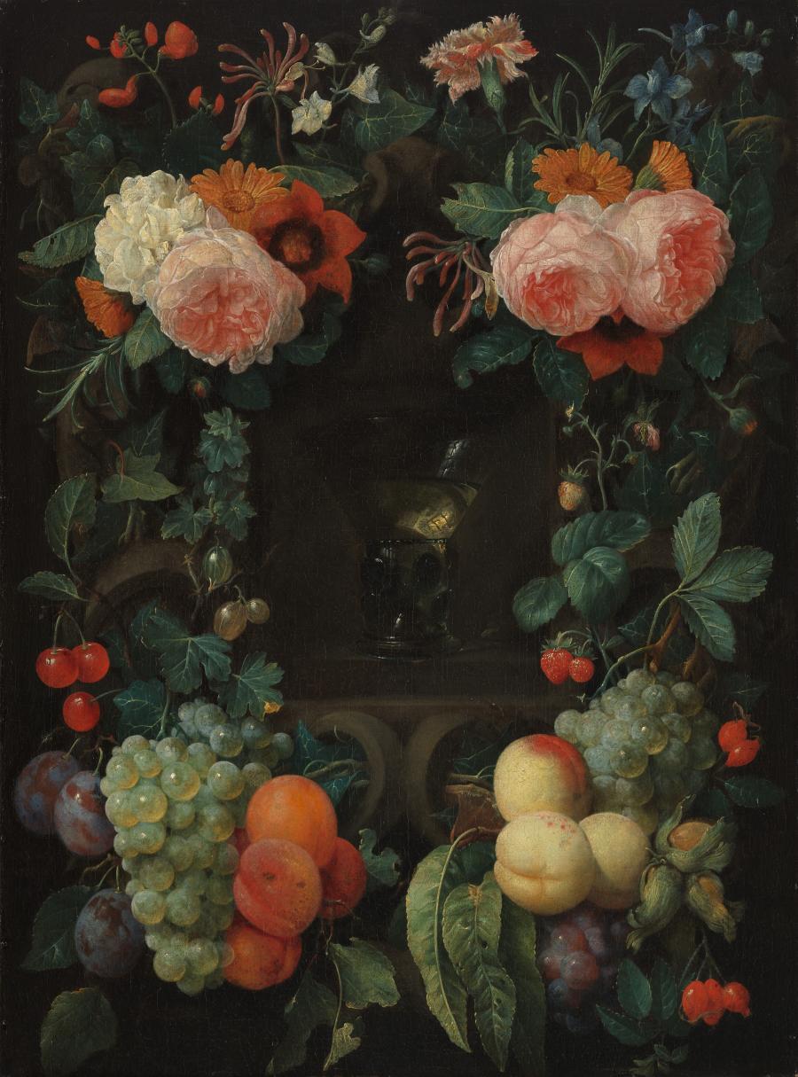Roemer in een nis, omgeven door bloemen en vruchten