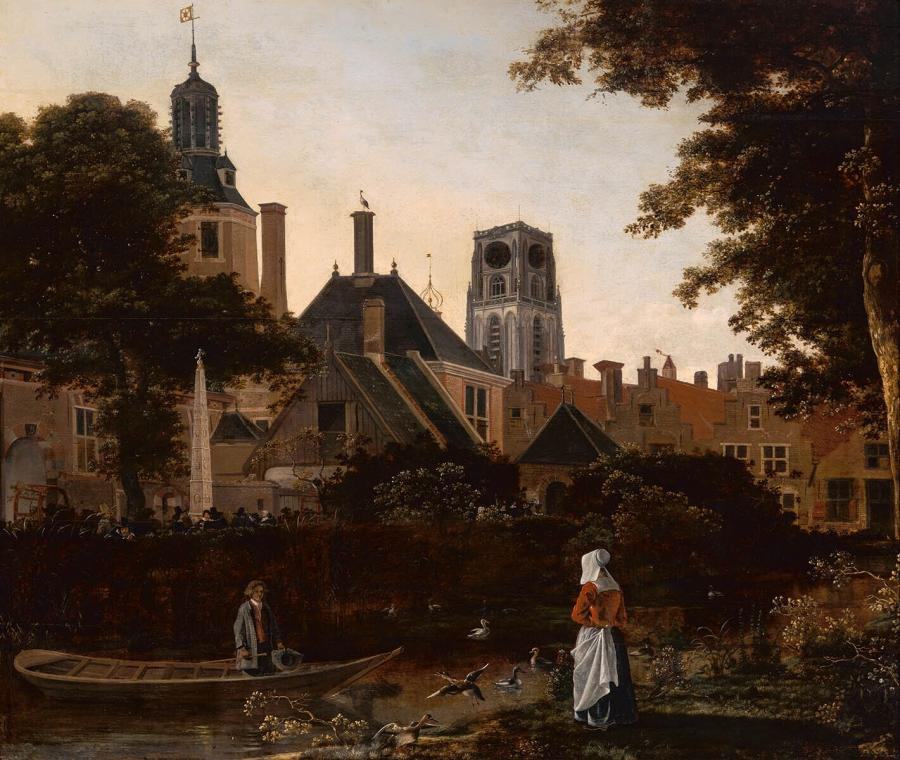 Stadsgezicht te Rotterdam met de Sint Laurenstoren