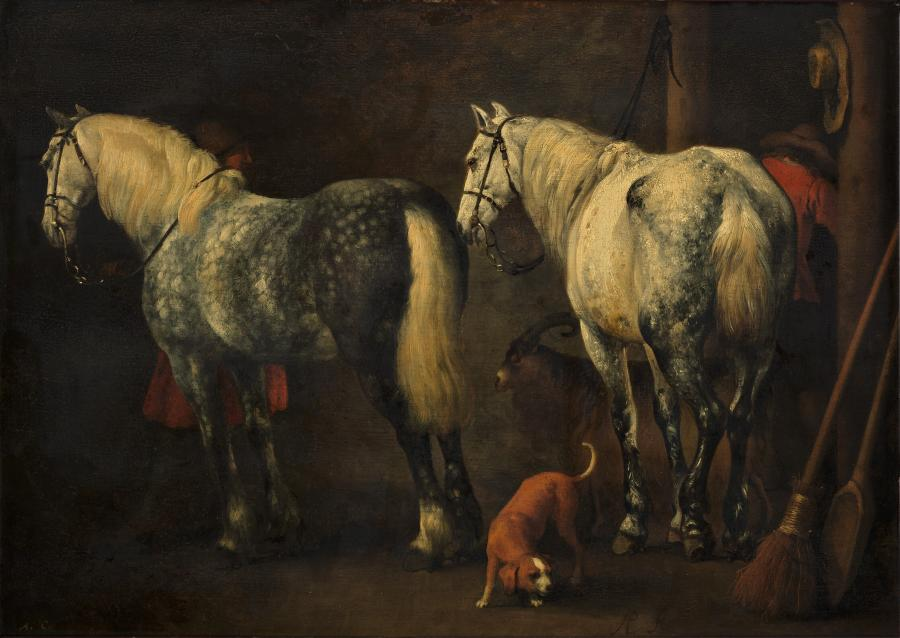 Interior of a stable with two dapple-greys