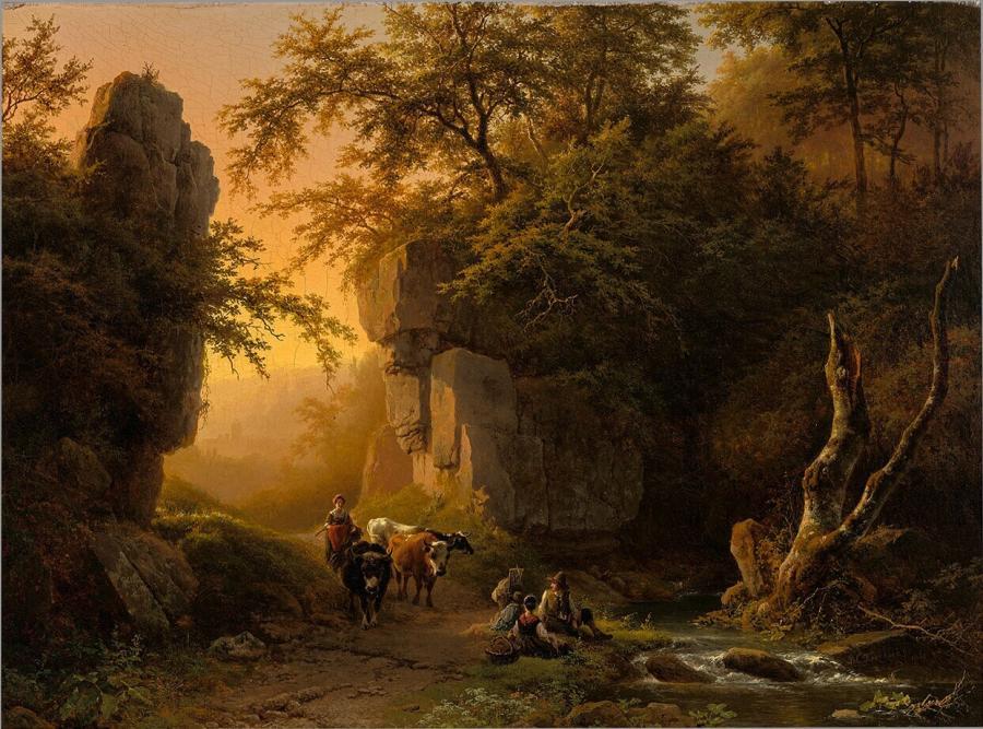 Berglandschap bij ondergaande zon