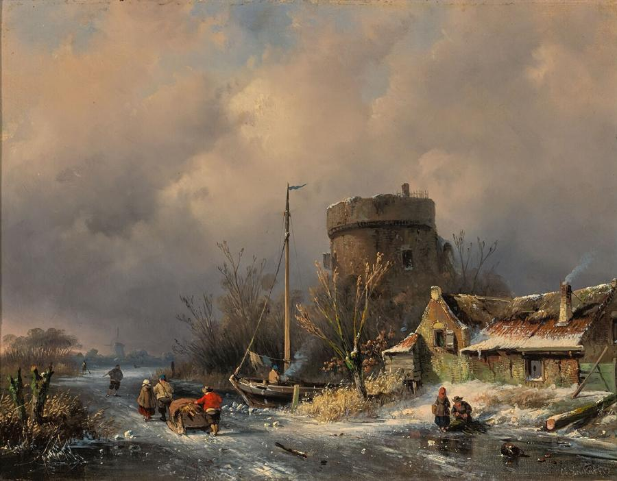 WInter Landscape With Round Tower and a Farm near a Frozen Canal