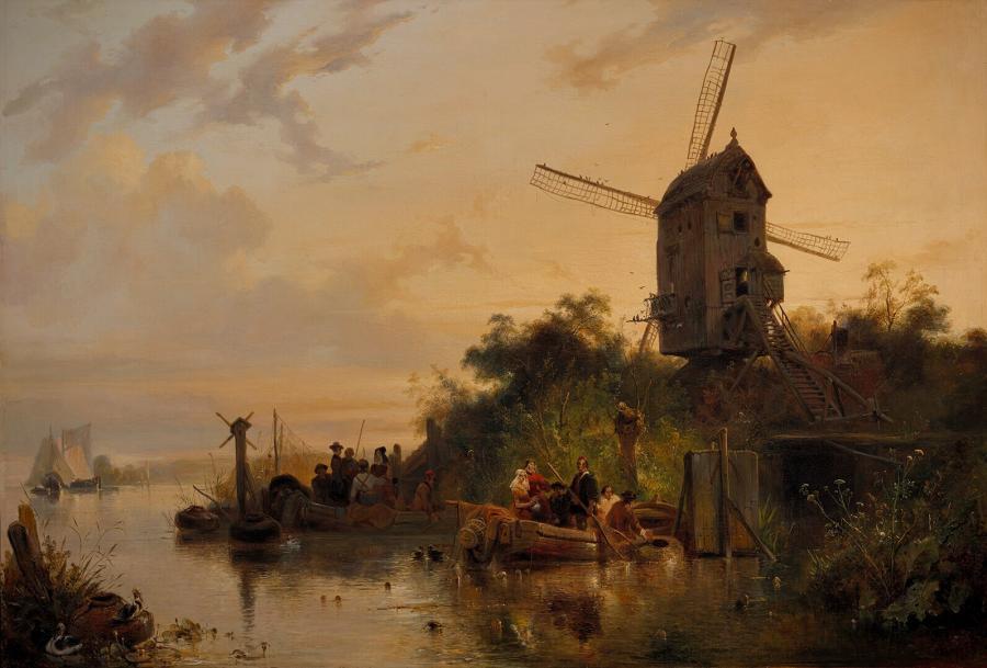 Waterland met molen