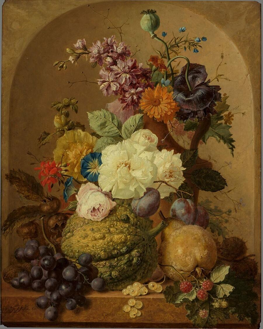 Stilleven van vruchten en bloemen in een nis