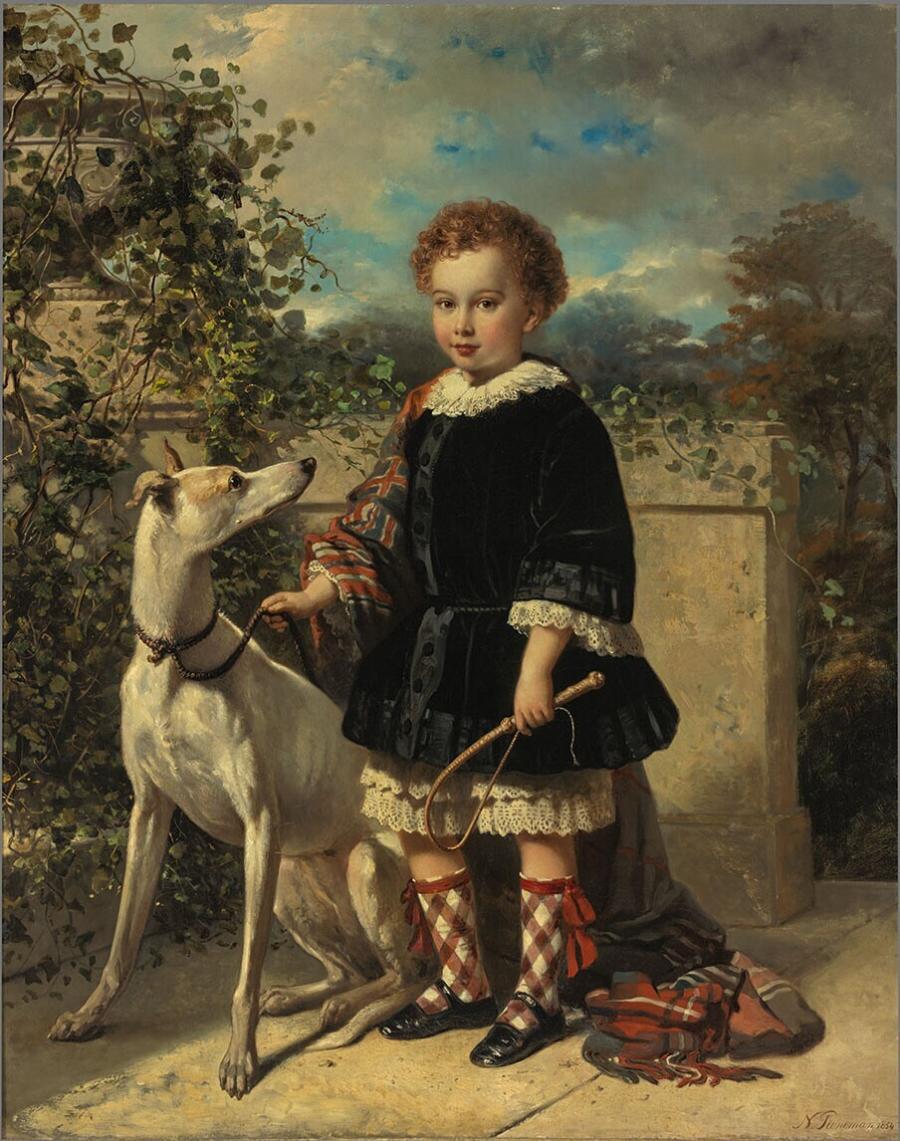 Portrait of a boy with a greyhound