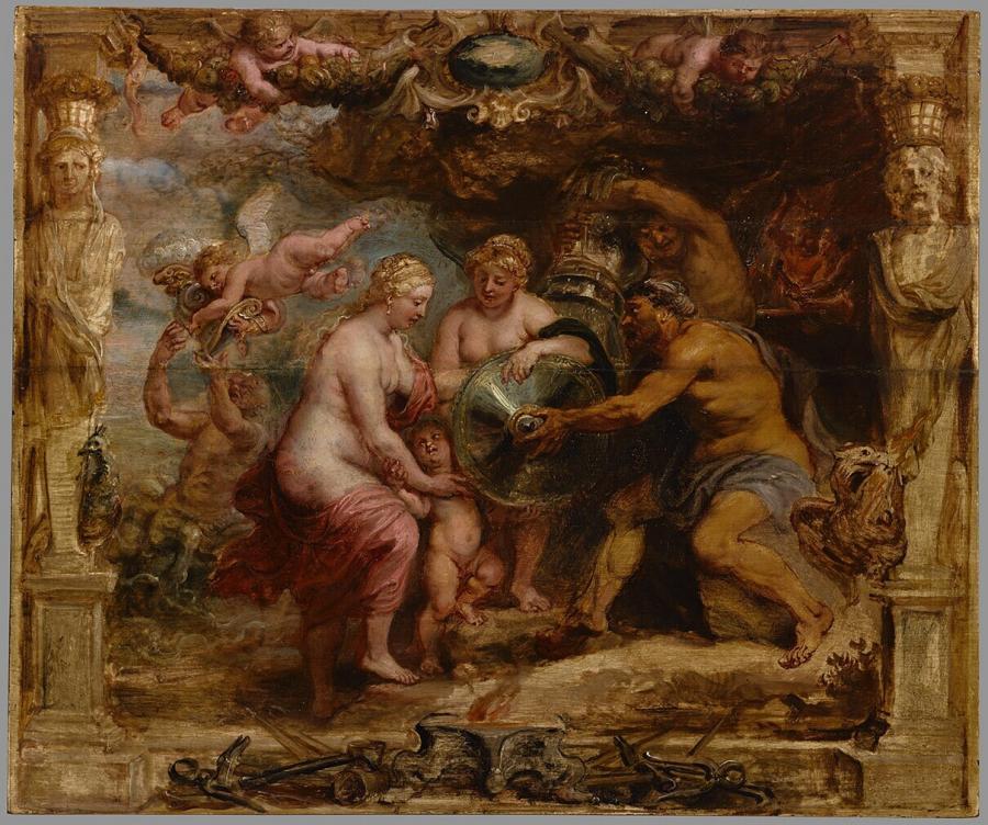 Thetis ontvangt van Vulcanus de wapenrusting voor Achilles