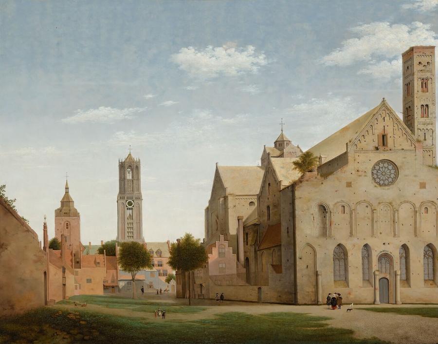 Gezicht op de Mariaplaats en de Mariakerk te Utrecht