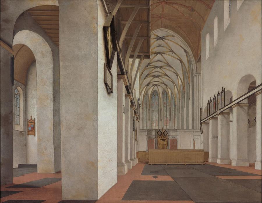 Interieur van de Sint Janskerk te Utrecht