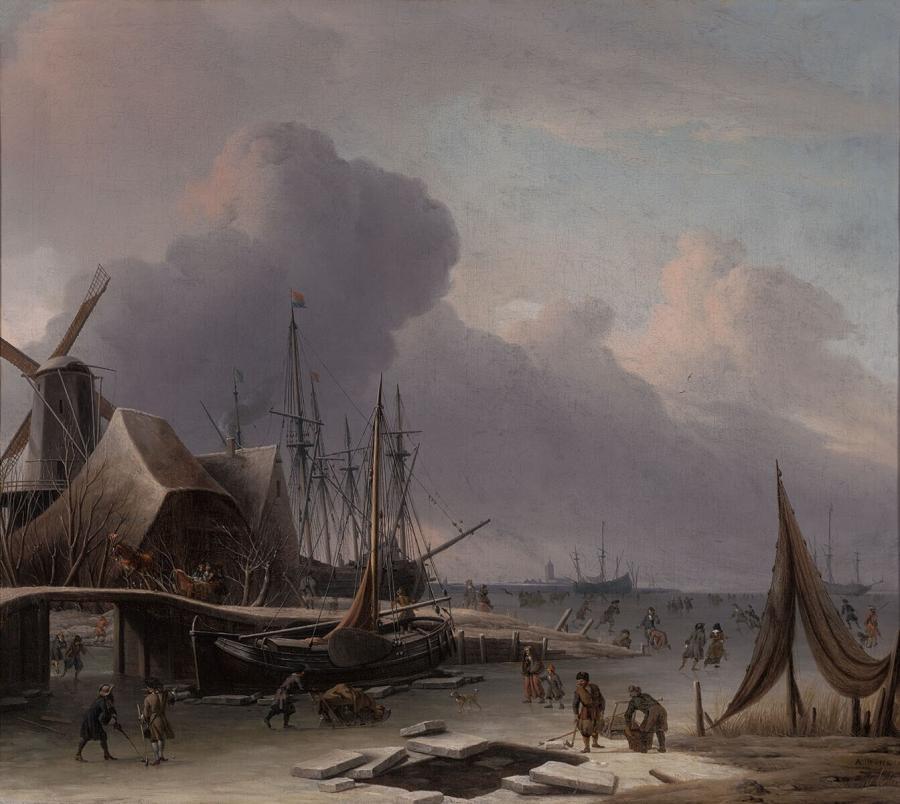 Hollandse haven in de winter