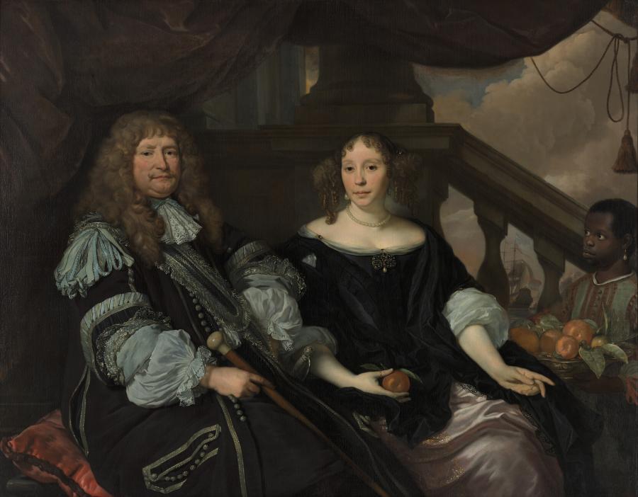 Portret van Anna van Boxhoorn, haar man Jan van Amstel en een onbekende jongen