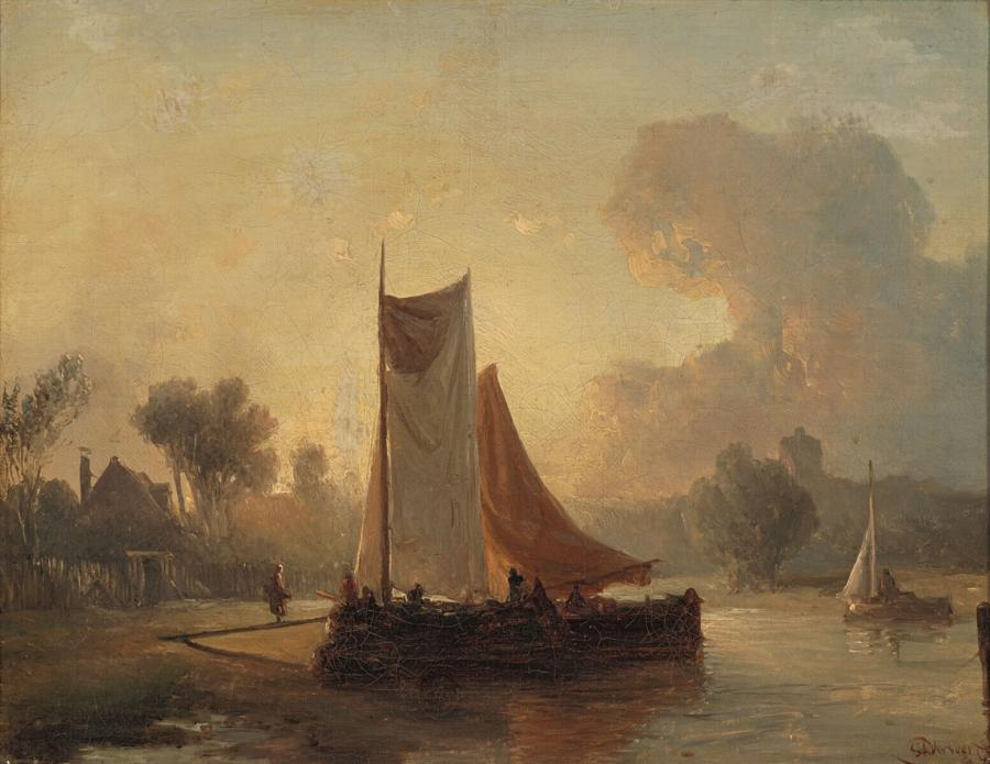 River Bank with a Mooring Boat