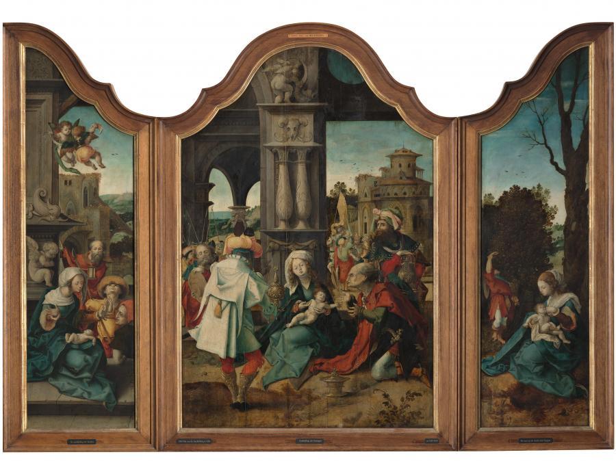 Drieluik met de Aanbidding der koningen, de Aanbidding der herders en de Rust op de vlucht naar Egypte