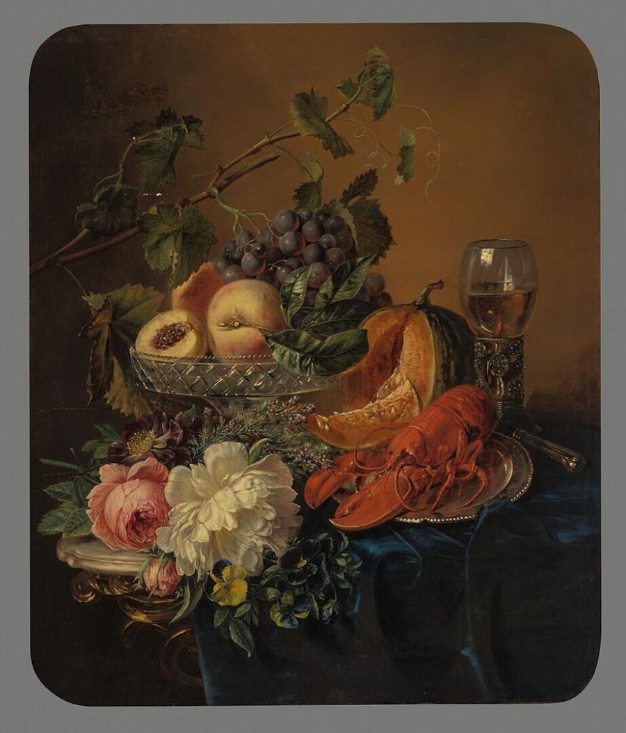 Stilleven met kreeft, bloemen en vruchten