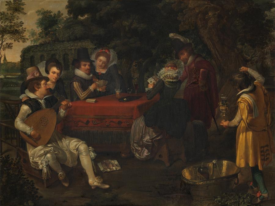 Buitenpartij, kaartspelers in een park