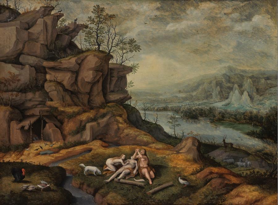 Landschap met de weeklacht van Adam en Eva bij het lijk van Abel