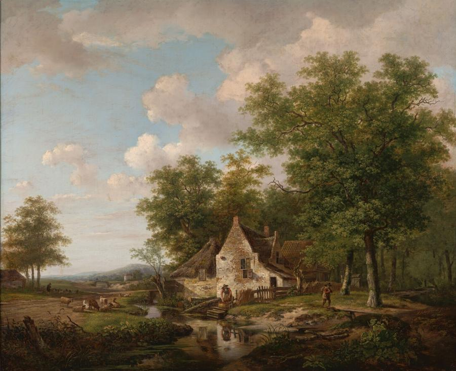 Landscape with a Farm between High Trees
