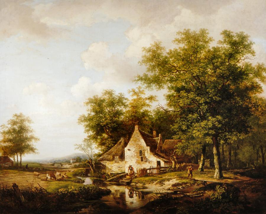 Landschap met rechts een boerderij tussen hoge bomen