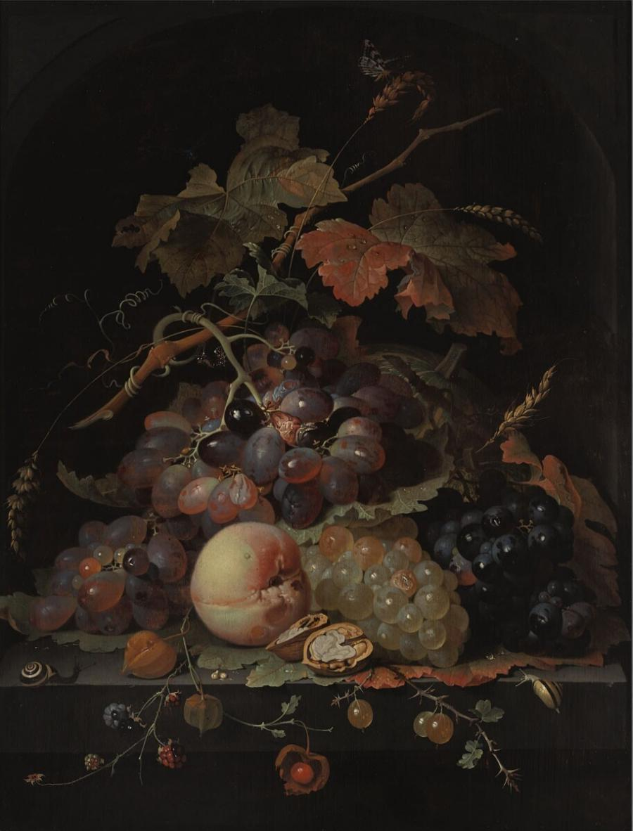 Stilleven van druiven en andere vruchten