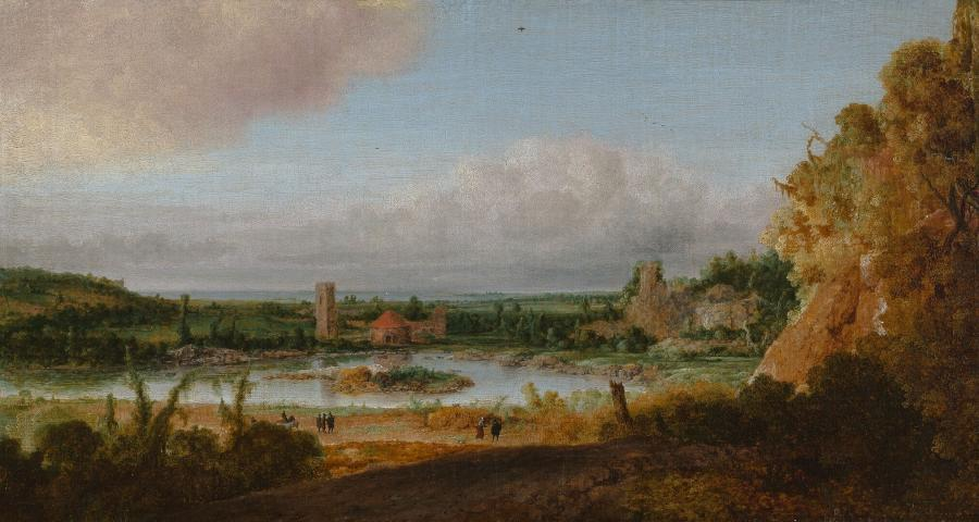 Landscape with tower and circular building