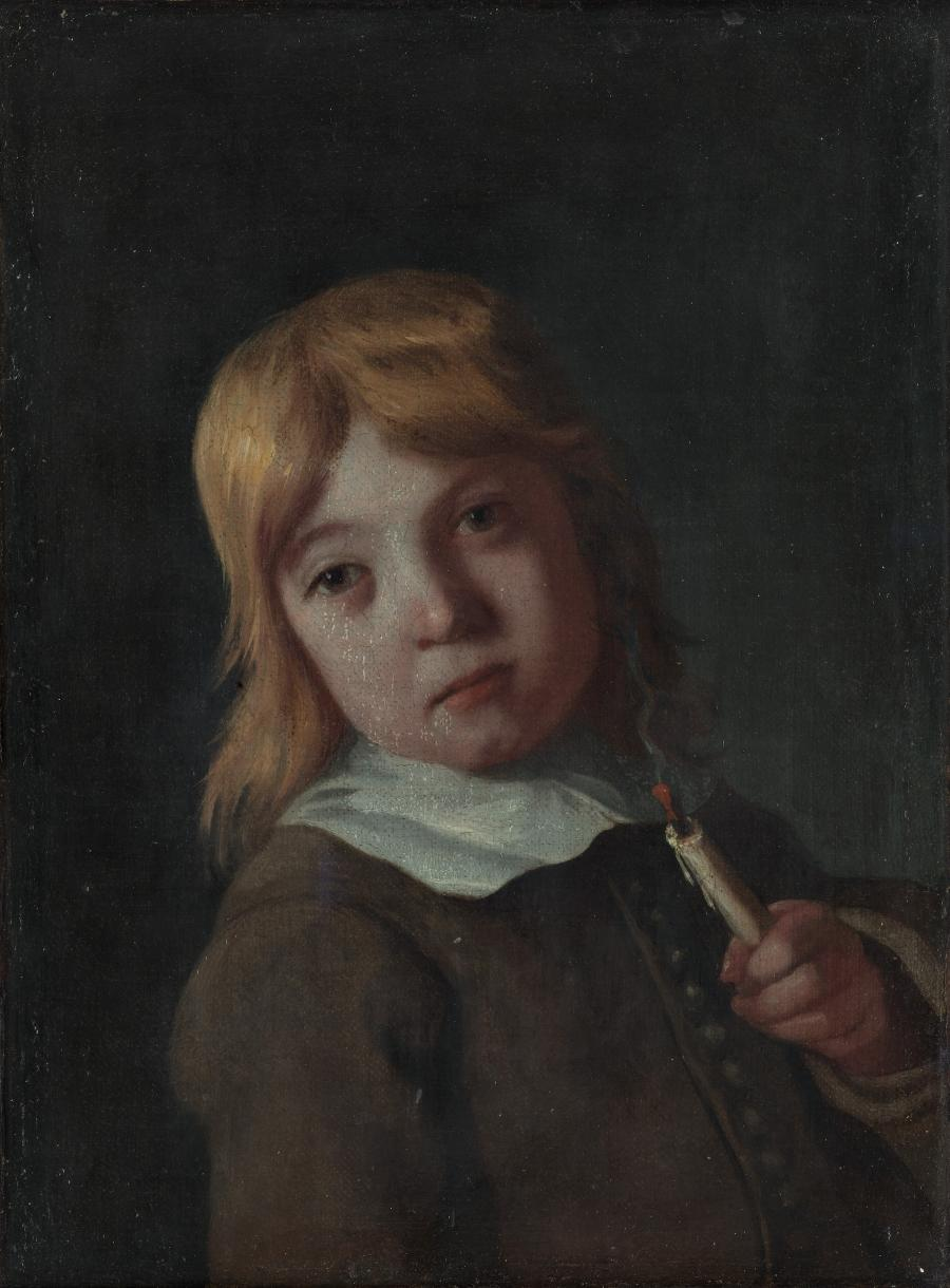 A boy with an extinguished candle - smell