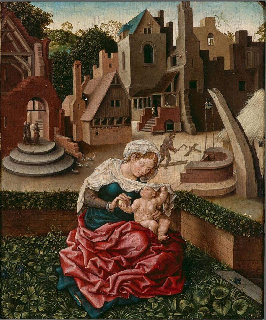 Maria met Kind, zittend in de hortus conclusus