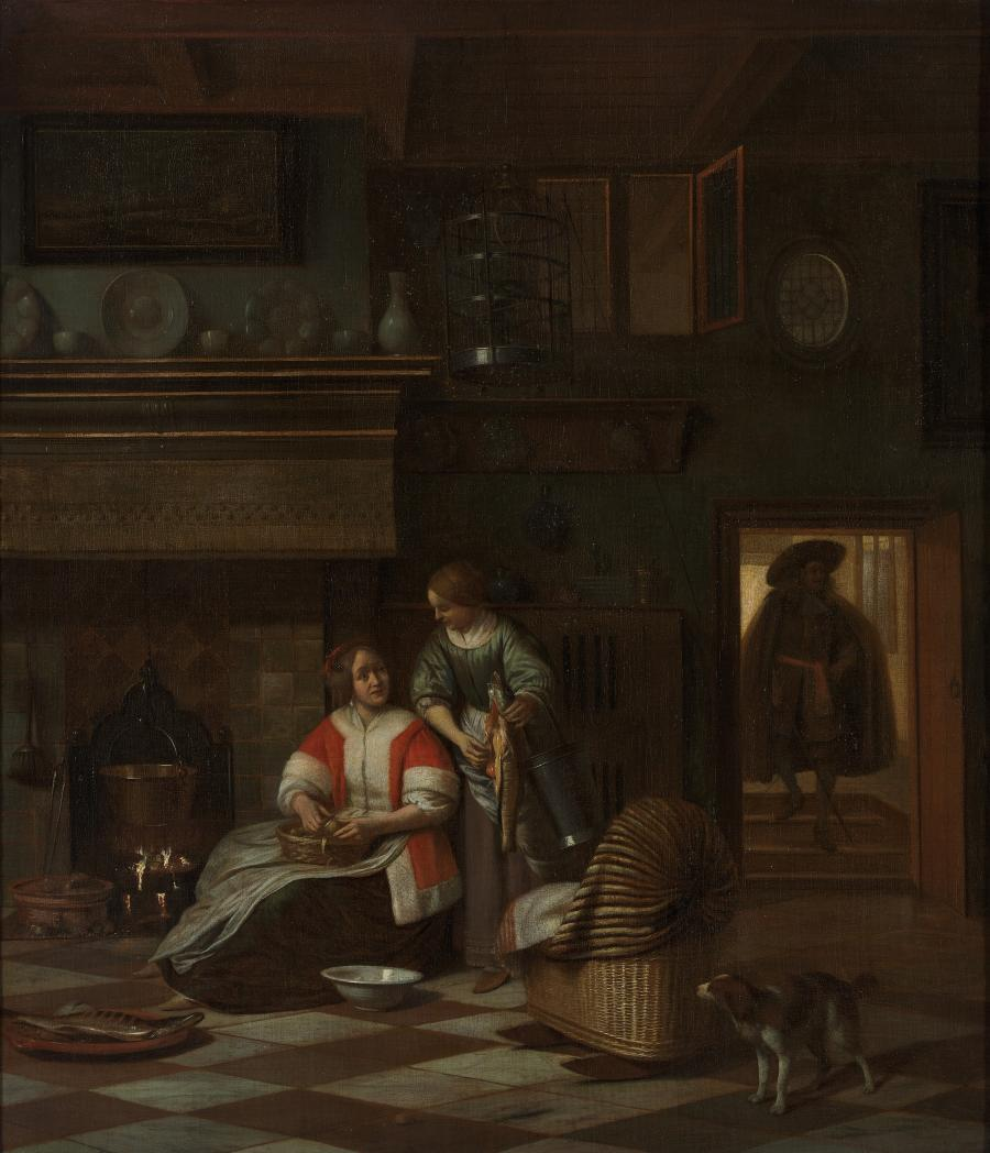 A Woman and a Maid with a Fish in an Interior