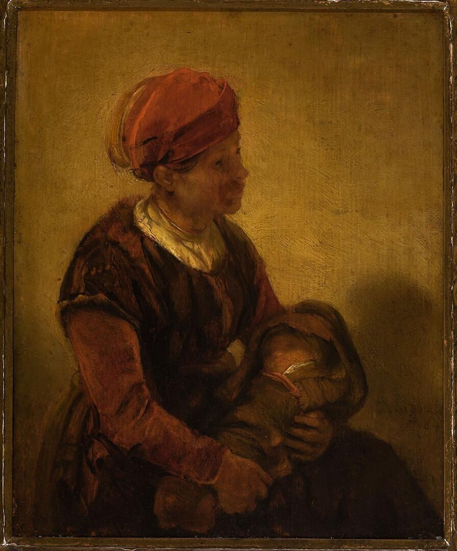 Woman with a Child in Swaddling Clothes
