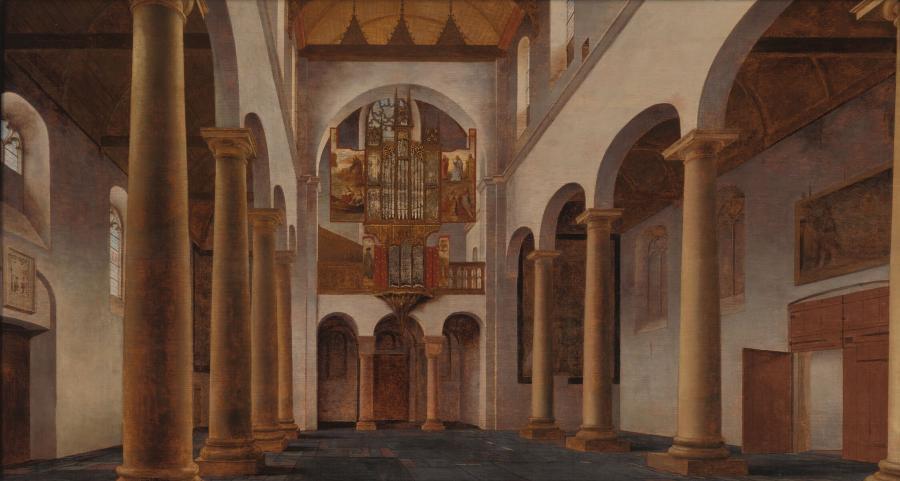 Interieur van het schip van de Pieterskerk te Utrecht, gezien naar het westen
