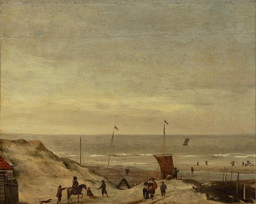 Gezicht op de Noordzee van de duinen bij Zandvoort af