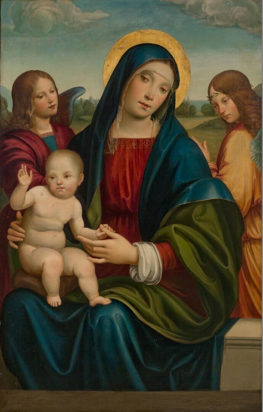 Maria met kind tussen twee engelen