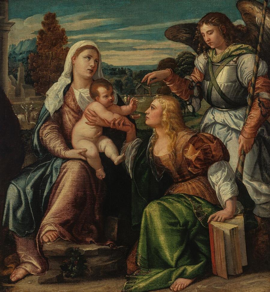 Maria met kind en de heiligen Catharina en Michaël