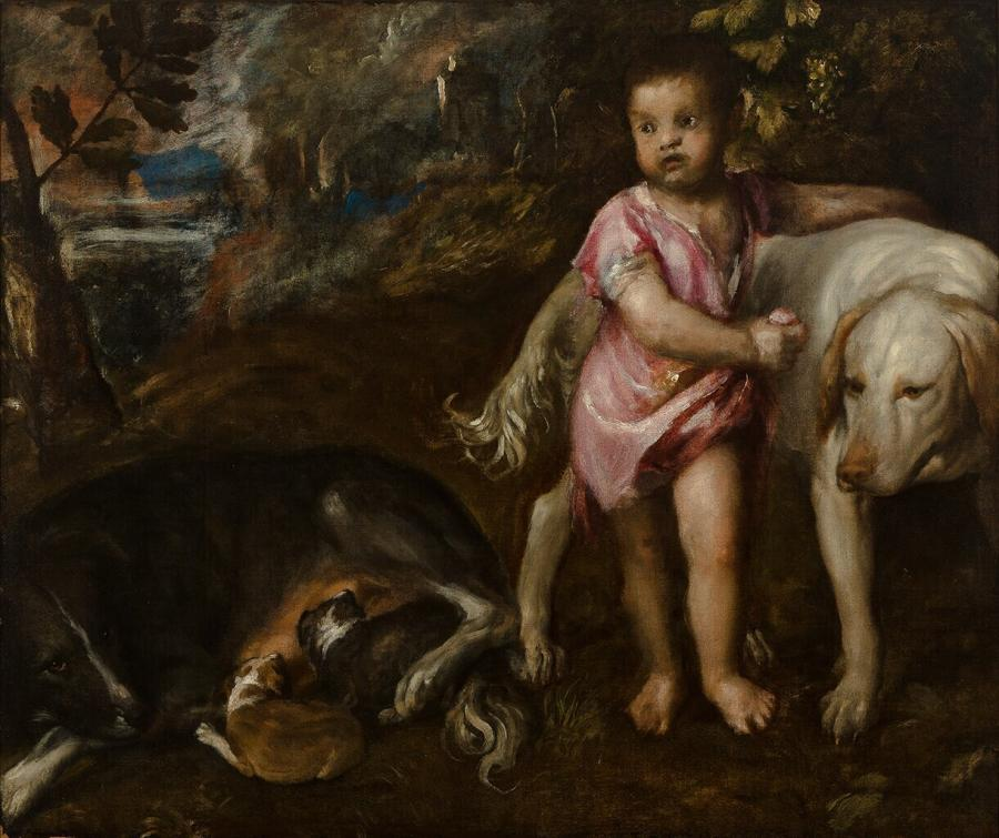 Boy with Dogs in a Landscape