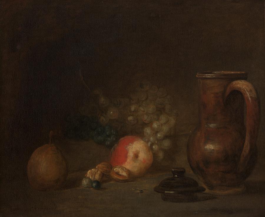 Stilleven met vruchten en aardewerken kruik
