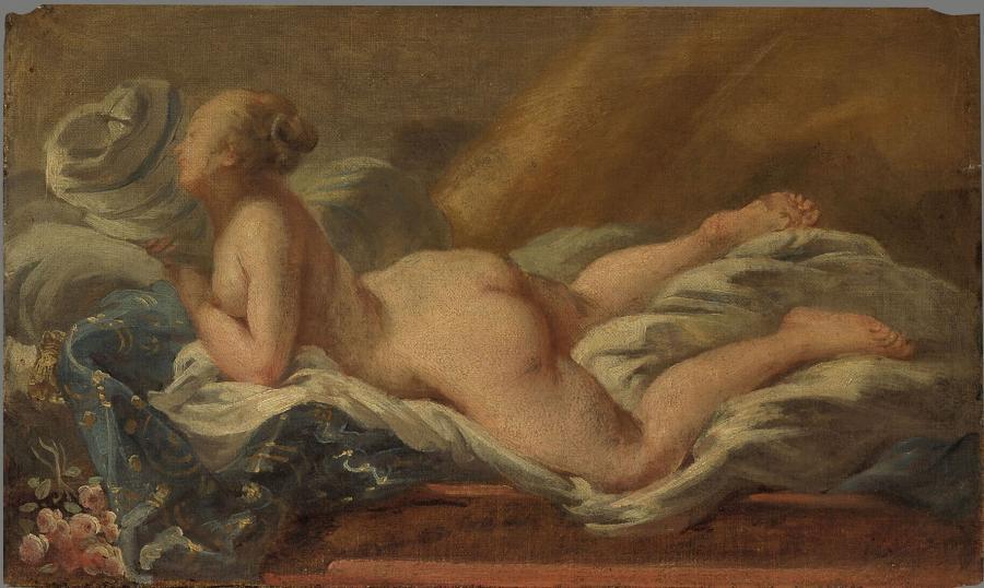 Naakte vrouw, liggend op een sofa