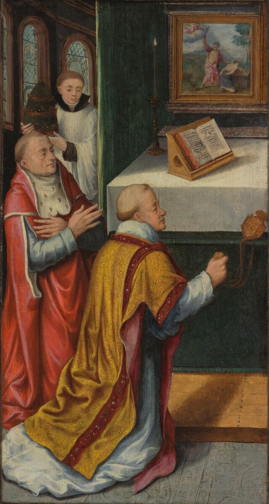 Twee geestelijken en een jongeling bij een altaar